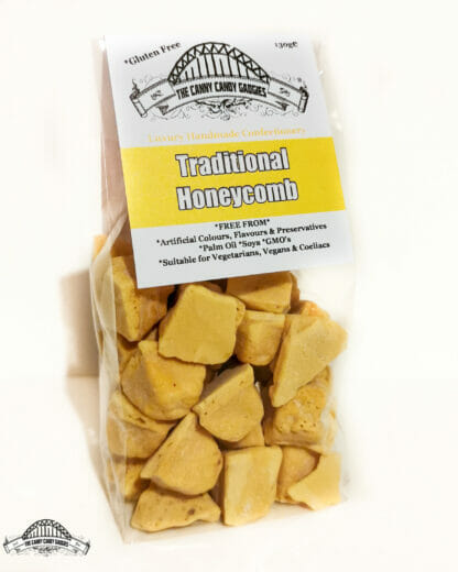 Traditional Honeycomb, golden chunks of cinder toffee
